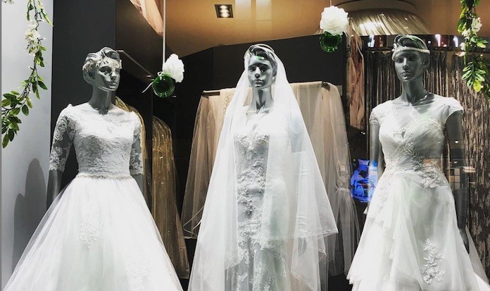 robe de mariée en vitrine